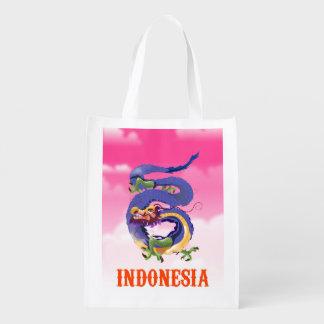 Sacola Ecológica Poster de viagens retro do dragão de Indonésia