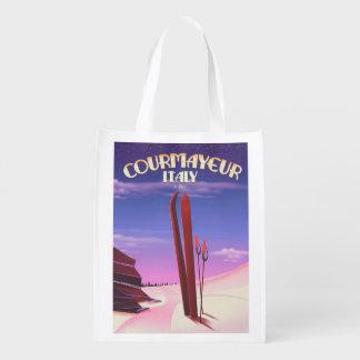 Sacola Ecológica Poster italiano do esqui de Courmayeur