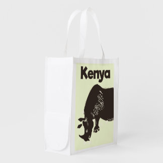 Sacola Ecológica Poster vintage do africano do rinoceronte de Kenya