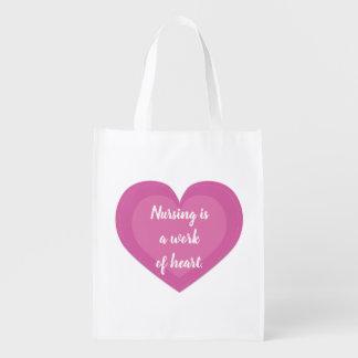 Sacola Ecológica Presente cor-de-rosa da enfermeira do coração