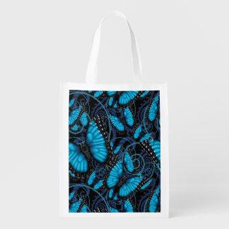Sacola Ecológica Redemoinhos azuis da borboleta de Morpho