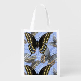 Sacola Ecológica Redemoinhos pretos da borboleta de Swallowtail