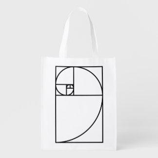 Sacola Ecológica Relação dourada de Fibonacci - arte matemática