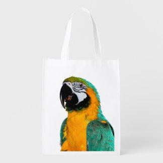Sacola Ecológica retrato colorido do pássaro do papagaio do macaw