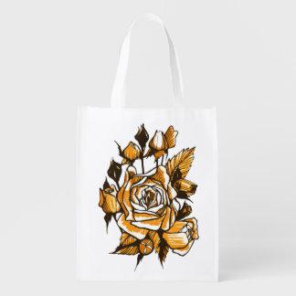 Sacola Ecológica Rosas, arte floral gráfica, flores cor-de-rosa de