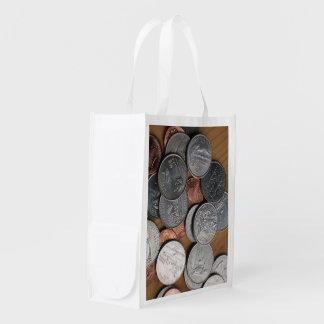 Sacola Ecológica Saco do poliéster - moedas na mesa