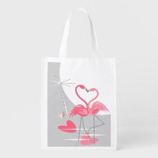 Sacola Ecológica Saco reusável da grande lua do amor do flamingo