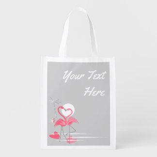 Sacola Ecológica Saco reusável de Tesxt do lado do amor do flamingo