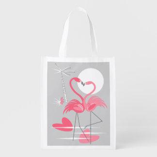 Sacola Ecológica Saco reusável do amor do flamingo