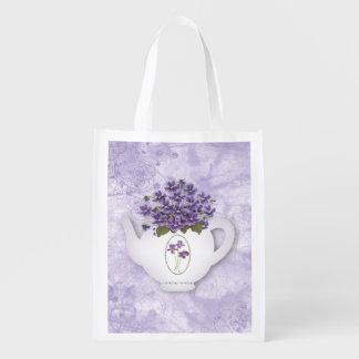 Sacola Ecológica Saco reusável do bule violeta