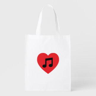 Sacola Ecológica Saco reusável do coração da nota da música