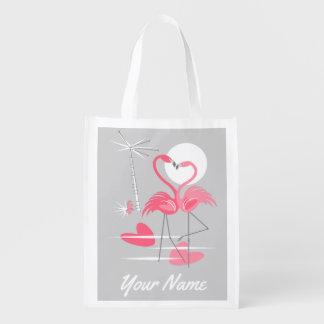 Sacola Ecológica Saco reusável do nome do amor do flamingo