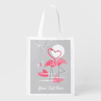 Sacola Ecológica Saco reusável do texto do amor do flamingo