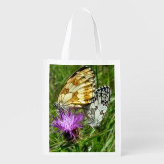 Sacola Ecológica Saco reusável marmoreado das borboletas brancas