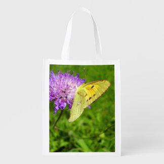 Sacola Ecológica Saco reusável nublado da borboleta amarela