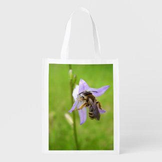 Sacola Ecológica Saco reusável pagado peludo da abelha da flor