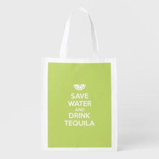 Sacola Ecológica Salvar a água e beba o Tequila