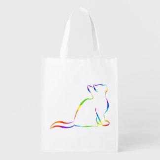 Sacola Ecológica Silhueta do gato do arco-íris