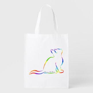Sacola Ecológica Silhueta do gato do arco-íris, texto interno