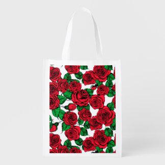 Sacola Ecológica Teste padrão das rosas vermelhas