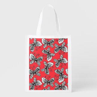 Sacola Ecológica Teste padrão de borboletas do Doodle