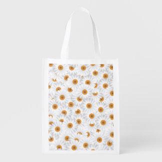 Sacola Ecológica Teste padrão de flor branco da camomila