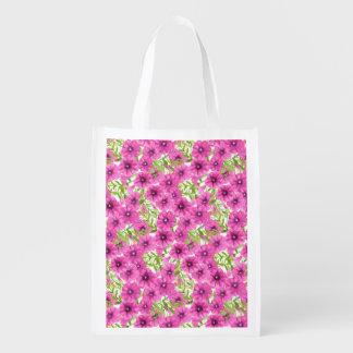 Sacola Ecológica Teste padrão de flor cor-de-rosa do petúnia da