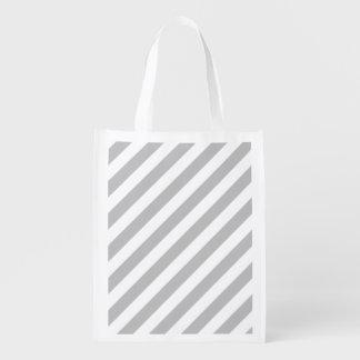 Sacola Ecológica Teste padrão diagonal do cinza e o branco das