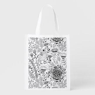 Sacola Ecológica Teste padrão do doodle do pássaro e das flores