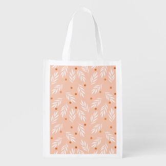 Sacola Ecológica Teste padrão floral das folhas do rosa moderno do