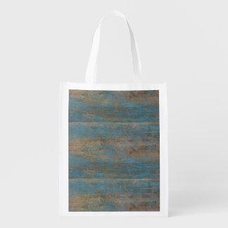 Sacola Ecológica Textura azul da madeira da praia