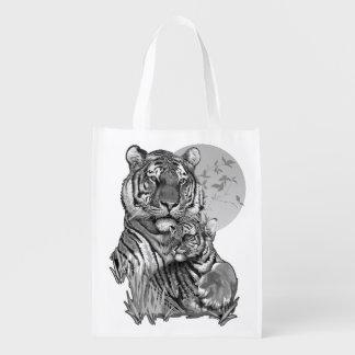 Sacola Ecológica Tigre com Cub (B/W) a bolsa de compra reusável