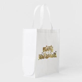 Sacola Ecológica Tipografia branca do Feliz Natal do ouro reusável