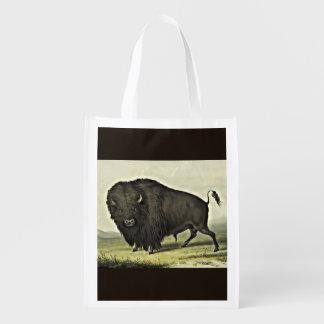 Sacola Ecológica touro do búfalo do catlin que pasta