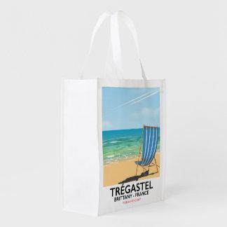 Sacola Ecológica Trégastel, poster das férias da praia de Brittany