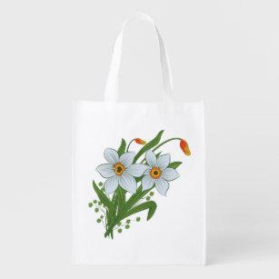 Sacola Ecológica Tulipas e flores dos Daffodils