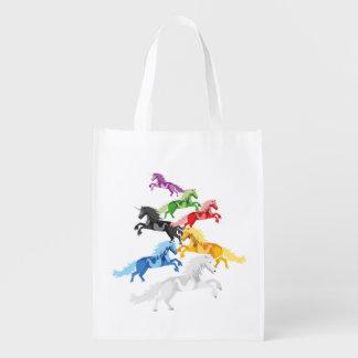 Sacola Ecológica Unicórnios selvagens coloridos da ilustração