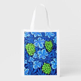 Sacola Ecológica Vinha de William Morris, azul cobalto