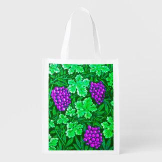 Sacola Ecológica Vinha, roxo e verde de William Morris