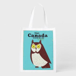 Sacola Ecológica Visite o poster da coruja de Canadá