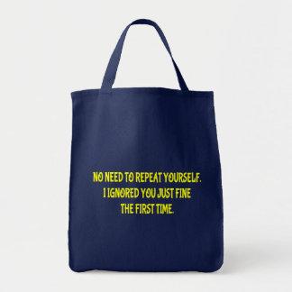 Sacola engraçada da repetição você mesmo bolsa tote