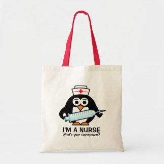 Sacola engraçada dos cuidados com a enfermeira sacola tote budget
