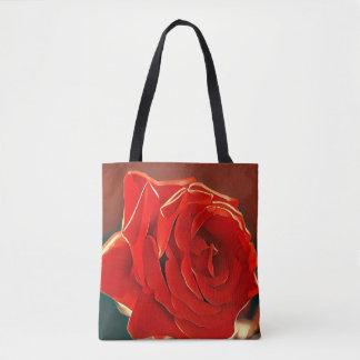 Sacola estilizado da rosa vermelha bolsas tote