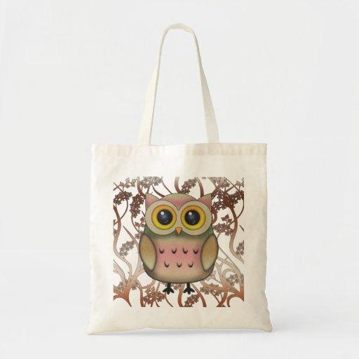 Sacola Eyed grande bonito da coruja Bolsas De Lona