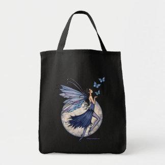 Sacola feericamente azul da meia-noite da borbolet sacola tote de mercado