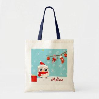 Sacola feliz do Natal da coruja da neve Bolsa Tote