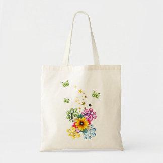 Sacola floral amarela do orçamento sacola tote budget