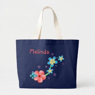Sacola floral azul cor-de-rosa da borboleta grande bolsa tote grande