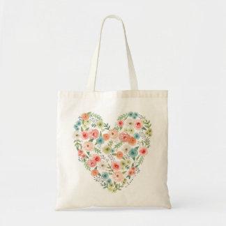 Sacola floral do coração bolsa tote