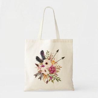 Sacola floral. Saco de bolsa de Boho
